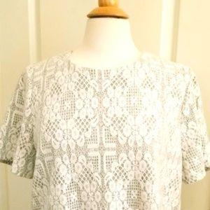 Grey/White Short Sleeve Blouse
